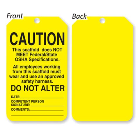 printable scaffold tags scaffolding inspection tags self laminated scaffold tags