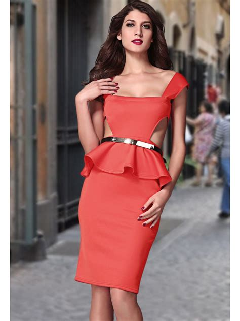 Western Chic Home Decor by Cut Out Side Belted Peplum Dress Red E6164 3 Cilory Com