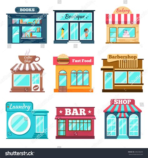 store layout vector shops stores icons set flat design stock vector 296338205