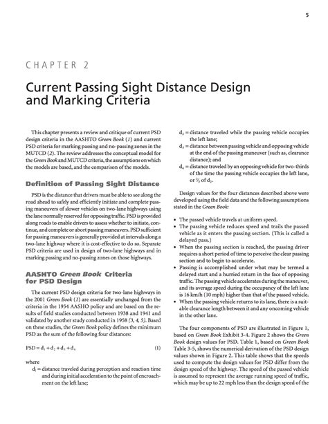 design marking criteria chapter 2 current passing sight distance design and