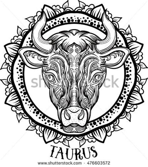detailed libra in aztec filigree line zentangle style pentagram animal skull satanic symbol tattoos stock vector