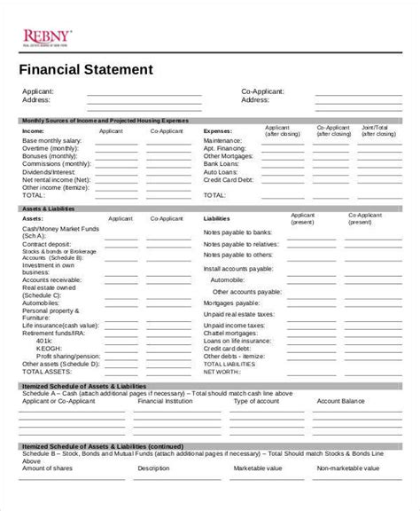 real estate financial statement template 30 statement sles templates sle templates