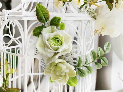 Bridal Flower Hair Comb ivory bridal flower hair comb handmade flowers oriflowers