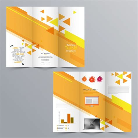 business tri fold brochure template design with front and