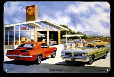shell gas station classic car sign by peter torres | shell