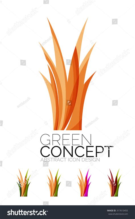 Company Creates Line Of Eco Set Abstract Eco Plant Icons Business Stock Vector