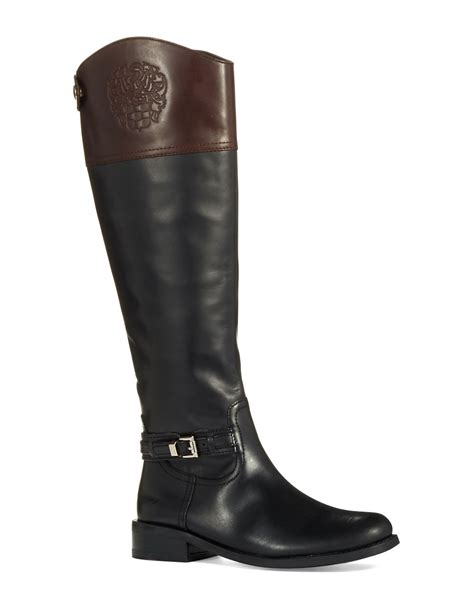 black riding vince camuto kable wide calf riding boots in black black