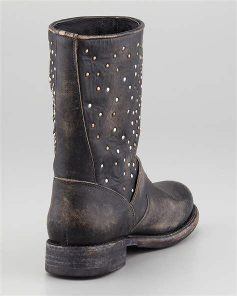 frye studded boots lyst frye studded skull boot black in black