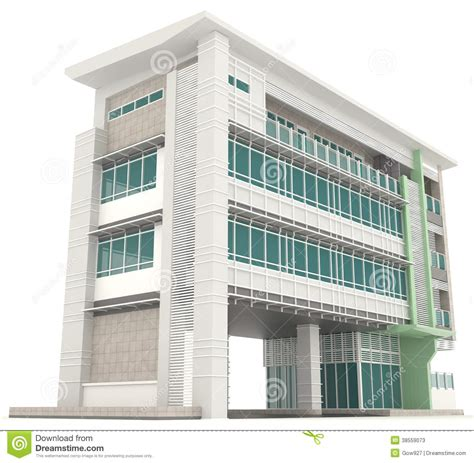 create a building side of 3d modern office building architecture exterior