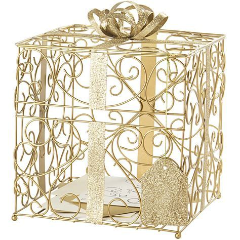 Gold Scrolled Wire Wedding Gift Card Box   My Wedding