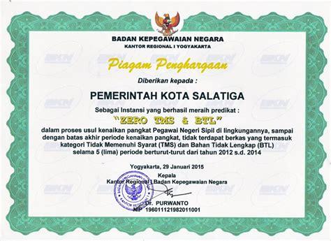 Manajemen Kepegawaian Sipil Di Edisi Kedua pemerintah kota salatiga raih dua penghargaan pengelolaan