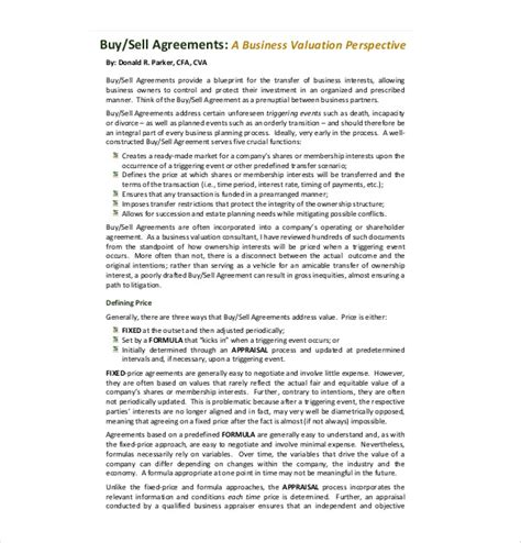 business buyout agreement template 12 buy sell agreement templates free sle exle