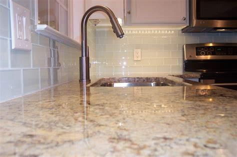 white glass subway tile kitchen backsplash traditional