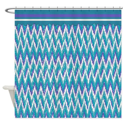 purple and turquoise shower curtain ikat zigzag purple turquoise shower curtain by getyergoat