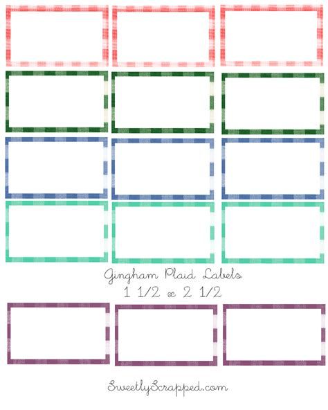 Printable Gingham Labels | sweetly scrapped gingham labels
