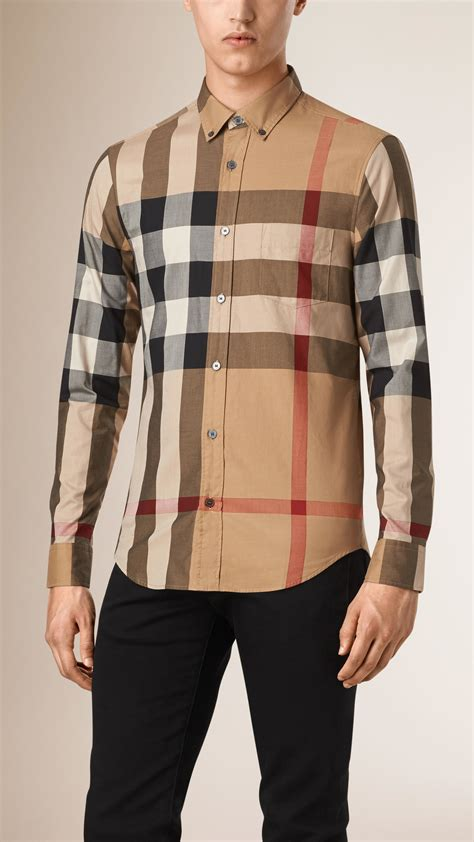burberry check cotton shirt in brown for camel lyst