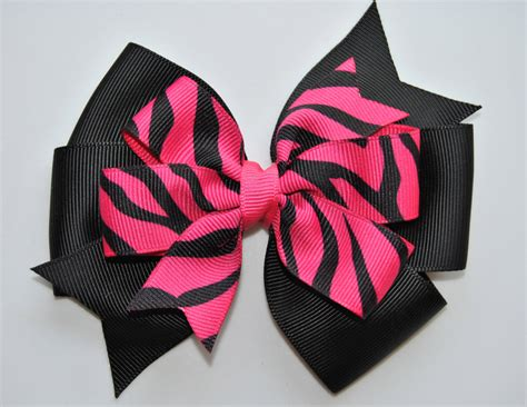 hair bows black pink zebra hair bow by happyholmzcreations