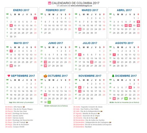 calendario colombia 2017 related keywords calendario