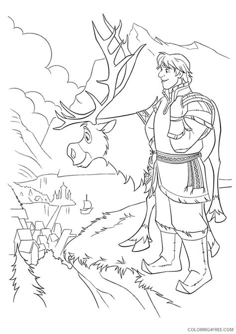 frozen reindeer coloring pages frozen coloring pages kristoff and sven coloring4free