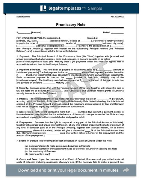 Promissory Note Create A Free Promissory Note Legal Templates Promissory Note Paid In Template
