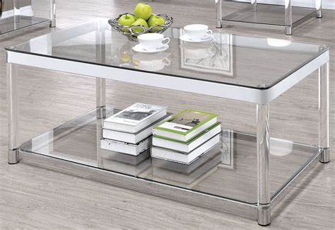 Acrylic Clear Coffee Table Chrome And Clear Acrylic Rectangular Coffee Table From Coaster Coleman Furniture