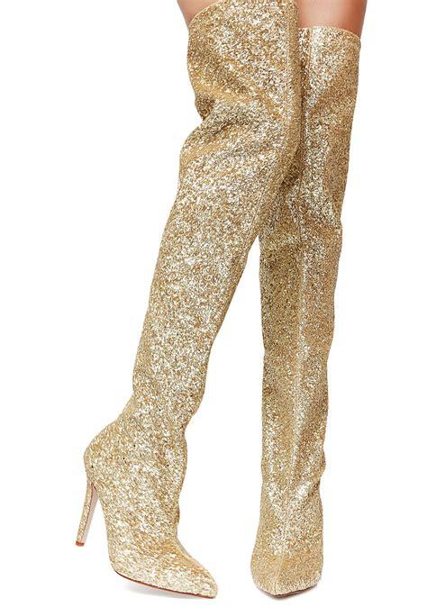 glitter thigh high gold boots dolls kill