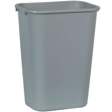 commercial trash cans rubbermaid commercial products 10 25 gal grey rectangular trash can fg295700gray the home depot
