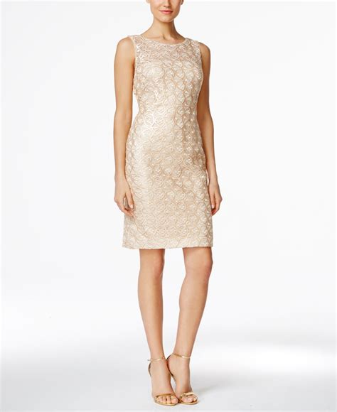 calvin klein sequined lace sheath dress in gold lyst