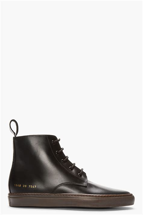 by common projects boots common projects black leather boots in black for
