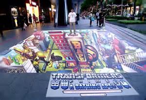 bape x transformers 3d floor art ben qwek