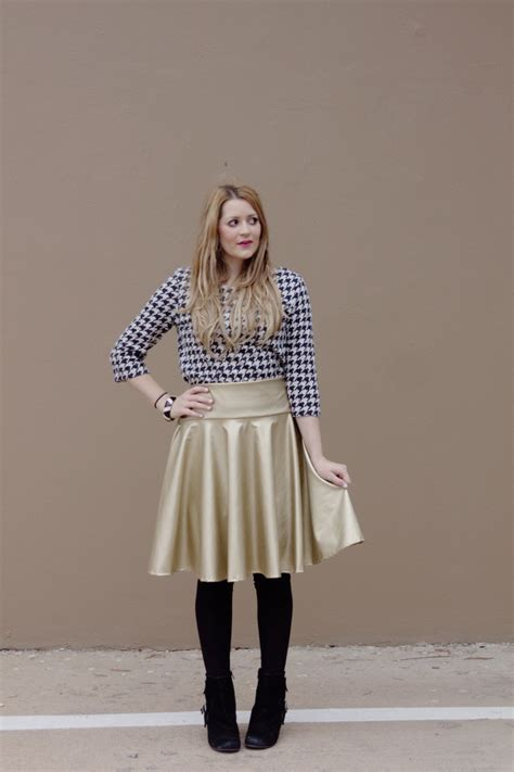 gold pattern skirt diy pleather circle skirt tutorial see kate sew
