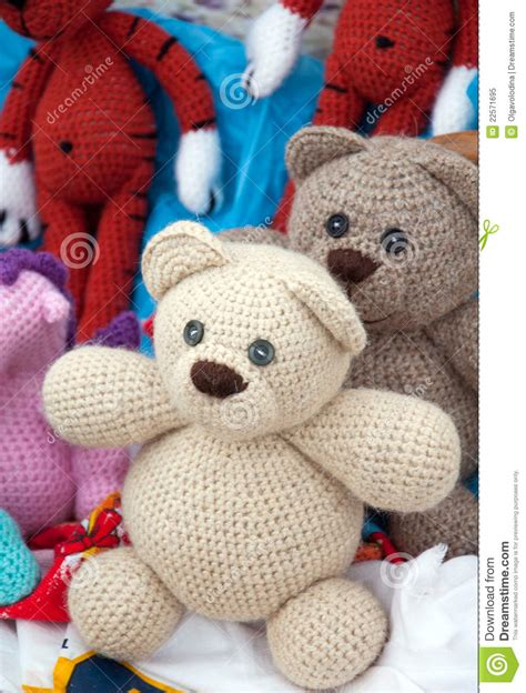 How To Make Handmade Soft Toys - knitted soft toys handmade royalty free stock photo