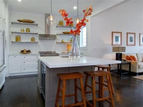small kitchen islands with seating grey wooden floor and floating shelves using small island