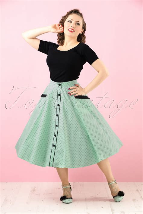 50s swing skirt 50s martie polkadot swing skirt in mint green