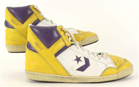 magic johnson basketball shoes lot detail 1986 89 circa magic johnson los angeles