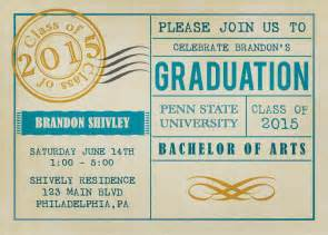 vintage postcard graduation invitations by announceitfavors