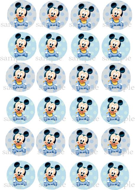 24 Baby Mickey Mouse Edible cake topper wafer rice paper cake cookie Cupcake toppers Boys