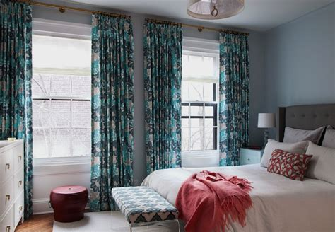 Gray And Turquoise Curtains Turquoise And Teal Curtains Contemporary Bedroom Cwb Architects