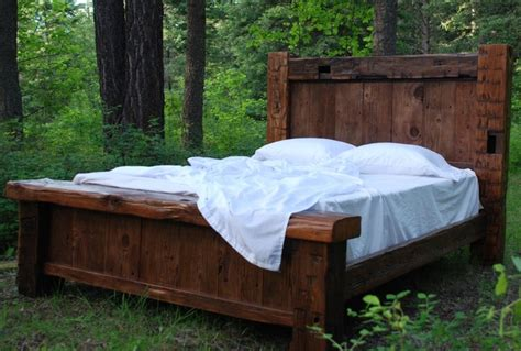 Custom Reclaimed Hand Hewn Bed   Rustic   Beds   other metro   by Charles Allen Designs