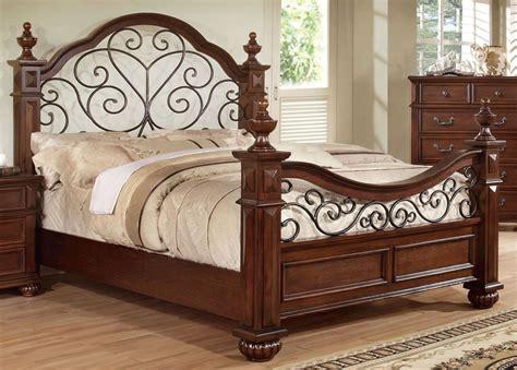 Oak California King Bed Landaluce Antique Oak Cal King Poster Bed From Furniture Of America Cm7811ck Bed