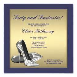 blue gold high heels womans 40th birthday 13 cm x 13 cm square invitation card zazzle