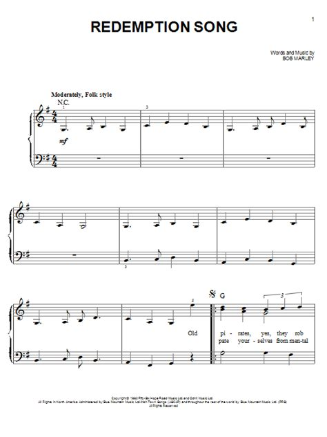 song guitar redemption song sheet direct