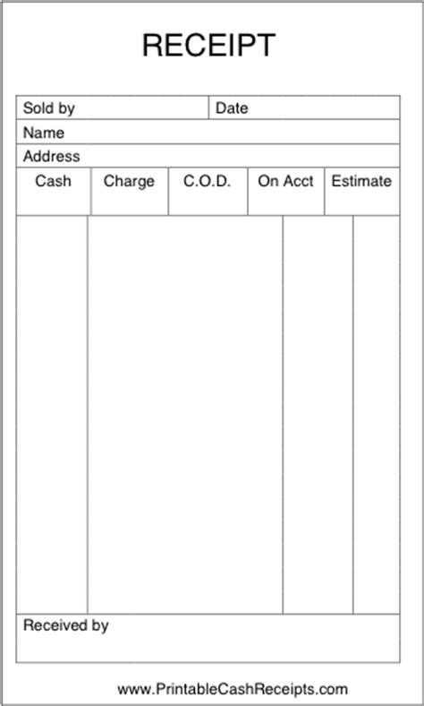 Receipt Template Tip by A Basic Sales Receipt That Is Unlined And Has Room To Note