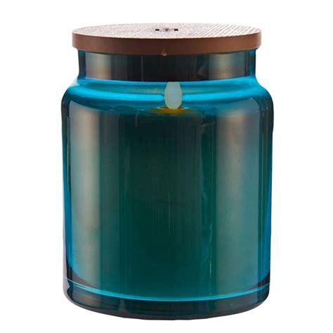 Blue Jar Candle by Lightli Moving Blue Glass Jar Candle 4 X 5 5 Inch