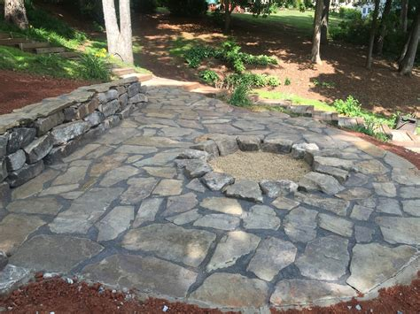 Flagstone Patio With Firepit Flagstone Patio Pit Installed For Seneca Customer Landscaping Irrigation Systems And