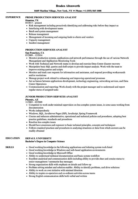 Service Analyst by Production Services Analyst Resume Sles Velvet