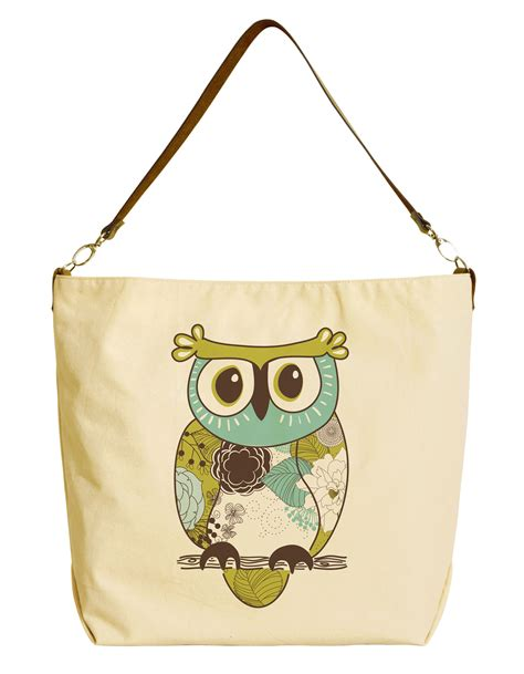 Totebag Owl Family By Bellezzeshop owl beige printed canvas tote bag with leather was