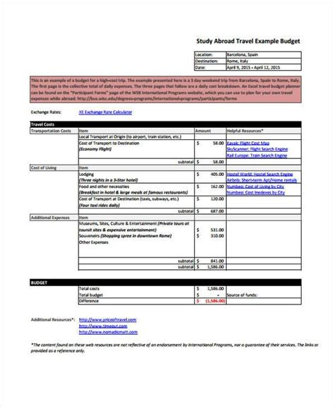 Budget Forms In Pdf Study Abroad Budget Template