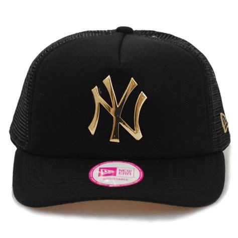 new era s ny yankees metal logo padded gold black