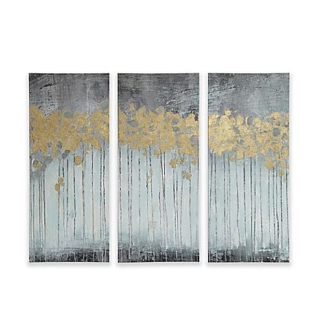 bed bath and beyond forest park madison park forest gel coat canvas with gold foil embellishment wall art in grey set